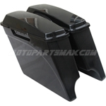 94-13 Extended Hard Saddlebags 4 Inch Stretched Unpainted w/ Lids for Harley Davidson
