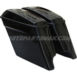 "NEW 2014 GROSS VIVID BLACK 4.5"" HD STRETCHED HARD SADDLEBAGS EXTENDED HARLEY SADDLE BAGS"