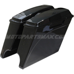 Vivid Black Gloss Extended Hard Saddlebags 4 Inch Stretched w/Lids for Harley 1994-2013